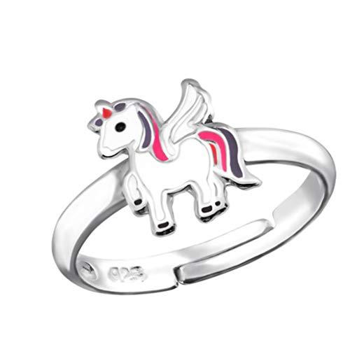 LRP_ Anillo de unicornio para niña, plata de ley 925, ajustable, talla única,...