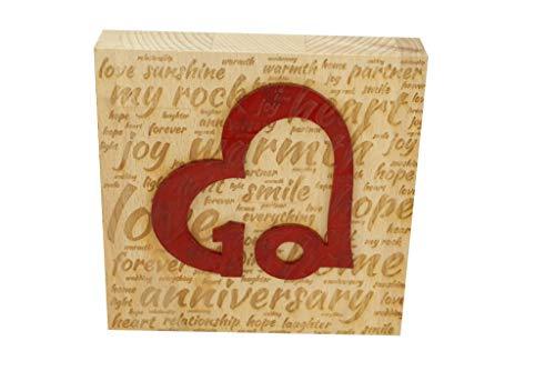 10 aniversario de boda Word Art Bloque de haya con corazón acrílico de 10 años – 10 aniversario ornamento