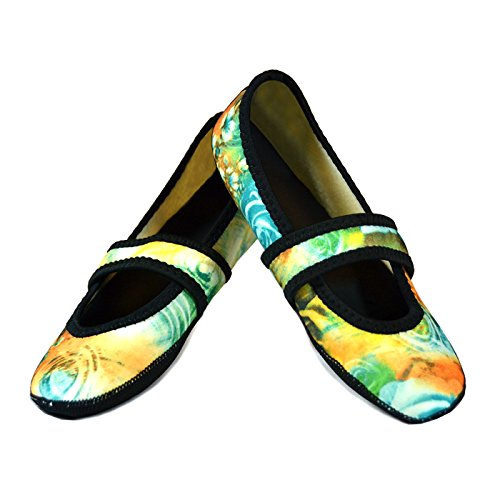 Nufoot Women's Betsy Lou Fuzzies Slipper Socks, Large, Teal Rose