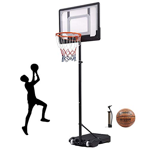 DEZHI Portable Basketball Hoop,Outdoor Free Standing Basketball Hoop & Stand System for Kid with 35' Backboard, Adjustable Basketball Hoop for Kids 5.5 to 6.9 ft