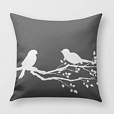 Birds On Branch Reversible Throw Pillow Cover for Sofa or Bedrooms