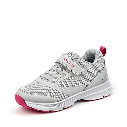 Geox SP Geox J024SC 00014 C0874 Mädchen Sneaker aus Meshmaterial herausnehmbare Sohle, Groesse 30, grau/Beere