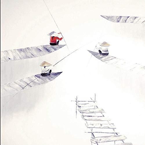 SnneiHome Leinwanddruck Abstract Im Chinesischen Stil DREI Angler Angeln Leinwand Gemälde Probe Minimalistischen Posterdruck Nordic Wall Bilder Für Wohnzimmer Home Decor, 20 X 20 cm Ohne Rahmen