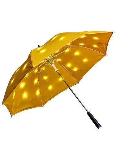 grau.zone LED Regenschirm Sternenhimmel Gelb mit eingearbeiteter Taschenlampe