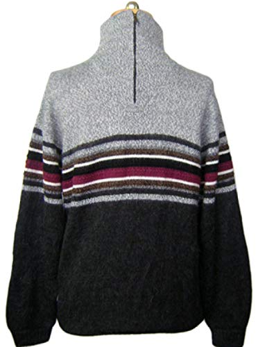 Gamboa - Alpaca Turtleneck - Alpaca Sweater for Men - Striped Design Grey