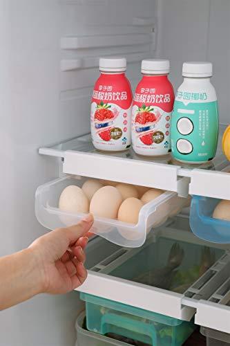 Diskary Kühlschrank Eierhalter Schublade Organizer, Eier Vorratsbehälter, mit Griff Herausziehen, Kühlschrank Regalhalter Eierablage (Passen 15 Eier)