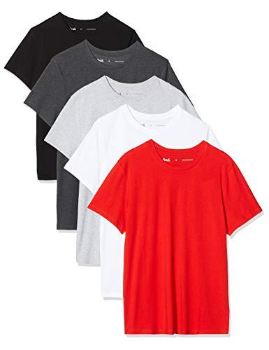 Amazon-Marke: find. Herren T-Shirt, 5er-Pack, Mehrfarbig (Wht/Gry/Red/Char/Blk), M, Label: M
