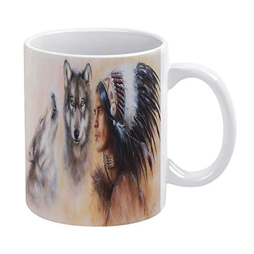 Blur Mystic Painting of Young Native Man - Taza con diseño de lobos de plumas para té de leche y café, oficina en casa