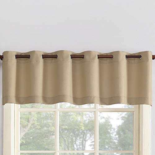 "No. 918 Montego Grommet Textured Kitchen Curtain Valance, 56"" x 14"", Taupe"