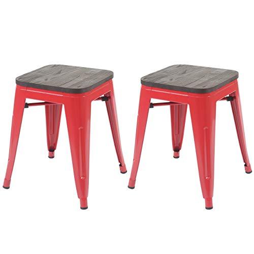 2X Hocker HWC-A73 inkl. Holz-Sitzfläche, Metallhocker Sitzhocker, Metall Industriedesign stapelbar ~ rot