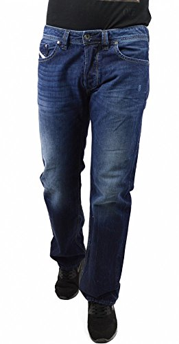 Diesel Larkee 0RM80 Herren Jeans Hose Regular Straight (W29/L32, Blau)