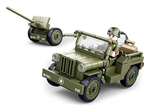 Sluban Klemmbausteine SL95713, WWII - All. Jeep mit Feldhaubitze [M38-B0853], Spielset , Klemmbausteine, Soldaten, mit Spielfigur, Army WWII, bunt
