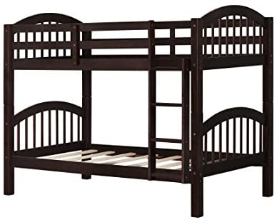 Bunk Bed Twin Over Twin 500 LB Heavy Duty,JULYFOX 2 Wood Bed Frames with Finsbury Headboard Footforad No Box Spring Need Bunk Bed W/Ladder Guard Rails for Small Spaces-Espresso