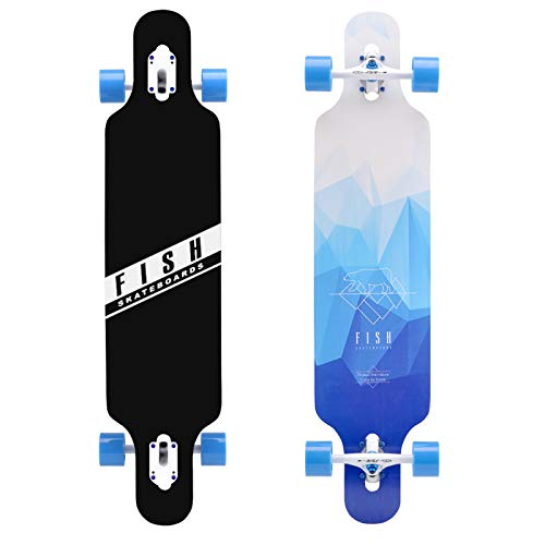 FISH SKATEBOARDS 41-Inch Downhill Longboard Skateboard Through Deck 8 Ply