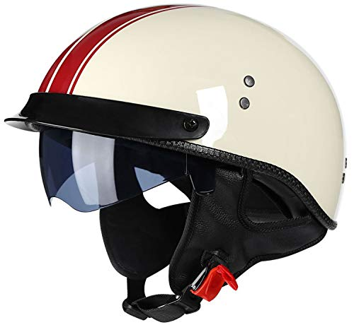 Retro Casco De Moto Abierto Para Mujer Hombre, Media Cara Casco De Protección Para Motocicleta Scooter Con Visera Cruiser Bike Chopper Jet Casco ECE Certificado Half Helmet Beige,XL