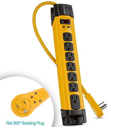 Maximm Heavy Duty Metal Power Strip Surge Protector (1440 Joules), 7 AC Outlets with 360 Degree Rotating Flat Plug & 6 ft Long Extension Cord + Cord Management, Multi Outlet, Yellow, UL Listed