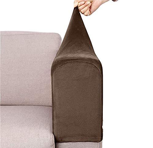 jHuanic Sofa-Armlehnenschoner, weich, dehnbar, rutschfest, für Stuhl, Couch, Möbel, Zuhause, Büro, 2er-Set (Dunkelbraun)