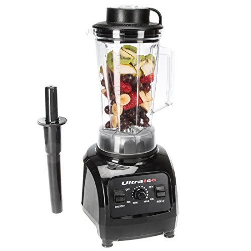 Ultratec Stand-/Küchengerät Mixer, 2 Liter, Hochleistungsmixer und Smoothie Maker mit 1.500 Watt bzw. 2 PS - Mixer mit 32.000 U/min. inkl. Smoothie Rezeptbuch, Zerkleinerer, Shaker