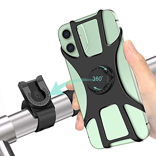 """Soporte Movil Bici, 360° Rotación Soporte Movil Moto Bicicleta, Desmontable Anti Vibración Porta Telefono Motocicleta Montaña para iPhone, Samsung y Otro 4-6.5"""" Móvil"""