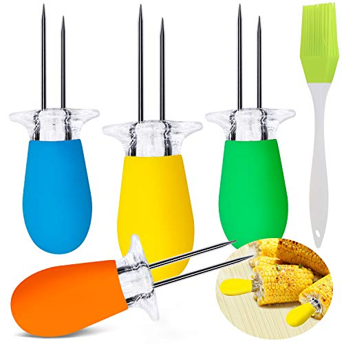 HEADO 10 Pcs/5 Pairs Corn Cob Holders Set, Stainless Steel Corn Holders Corn on The Cob Skewers, Interlocking Design Twin Prong Corn Skewers Forks with 1 Oil Brush for Home Cooking and BBQ, 4 Colors