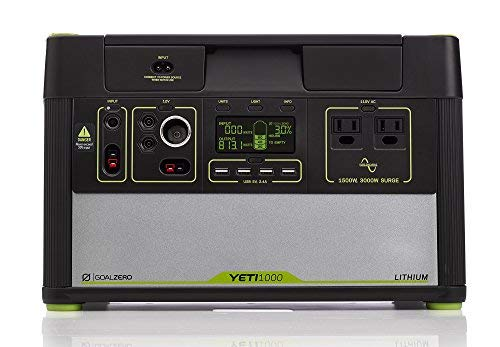 Goal Zero Yeti 1000 Lithium Portable Power Station, 1045Wh Silent Gas Free Generator Alternative with 1500W (3000W Surge) Inverter, 12V and USB Outputs
