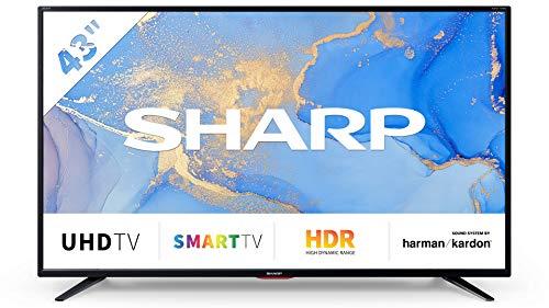 SHARP 43BJ6E 109 cm (43 Zoll) 4K Ultra HD Smart LED TV, HDR, Harman/Kardon Soundsystem, Triple Tuner