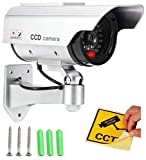 Runilex CCTV Fake Bullet Dummy Bullet Camera Camera Realistic Looking Dummy IR Security with Flashing LED Light Indication (Pack of 3)