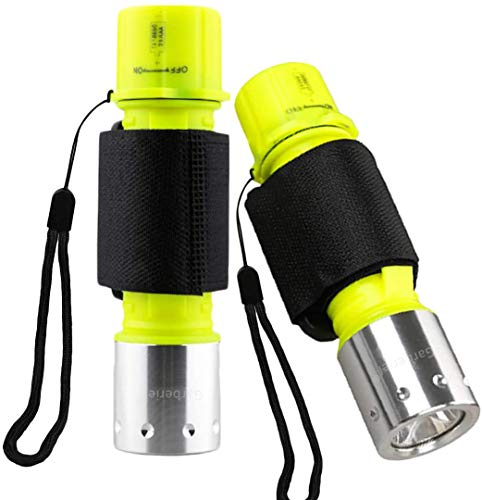 Garberiel 2 Pack Scuba Diving Flashlight Super Bright Dive Light 3 Modes Underwater Waterproof Torch for Scuba Diving, Night Snorkeling (Battery Not Include)