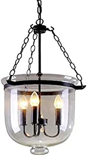 CLFINE Retro Rustic Clear Glass Shade Bell Jar Pendant Light with 3 Candle Lights Black Metal