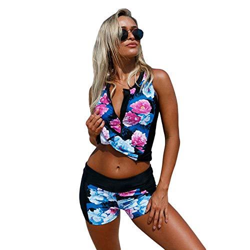 Dames Zwemkleding 2 Stuks Set Tankinis Badpak V-hals Rits Print Vest-Style Bikini Zwemkleding