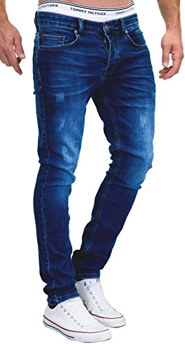 MERISH Jeans Herren Slim Fit Stretch Hose Jeanshose Denim 9148 (32-32, 9148 Dunkelblau)
