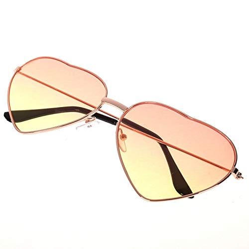 NJJX Gafas De Sol Con Forma De Corazón Para Mujer, Gafas De Sol De Metal Con Montura Completa A La Moda Para Mujer
