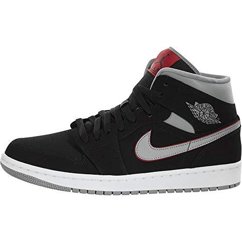 Nike Air Jordan 1 Mid, Scarpe da Basket Uomo, Nero (Black/Particle Grey/White/Gym Red 060), 42 EU