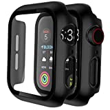 [2 Pack] Apple Watch Case 40mm 44mm for Series 6 5 4 SE, Built-in 9H Tempered Glass Screen Protector GROLEOA Hard PC Ultra-Thin Bumper HD Clear Film Overall Protective Cover for iWatch 40mm 44mm Black