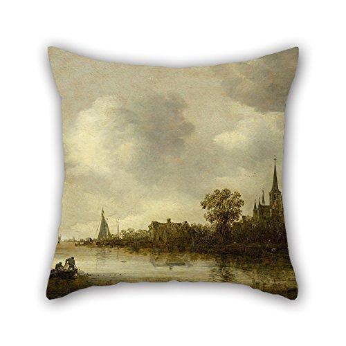 NA Pintura al óleo Jan Van Goyen - Paisaje de río con una