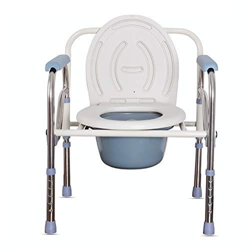 RAXST Silla Plegable para el WC de Aluminio 3 en 1, Silla con Inodoro con reposabrazos abatibles y Regulable en Altura, para Adultos discapacitados Ancianos