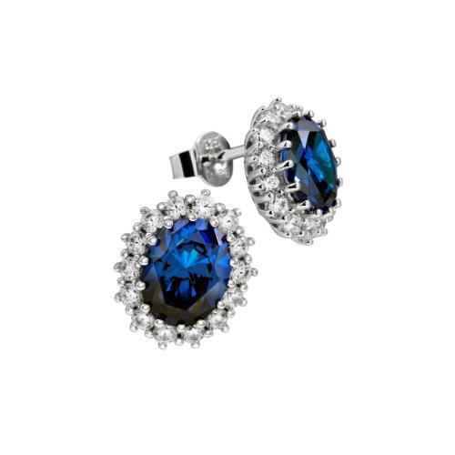Diamonfire Damen-Ohrstecker 925 Sterling Silber Zirkonia Royal Colours Linie blau 62/1368/1/089