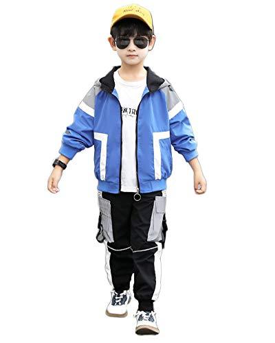 Sportanzug Jungen Trainingsanzug Sweatjacke Und Sweathose Jungen 2-Teilig Anzug Bekleidungsset Jacke Mit Kapuze + Hose Hip Hop Kleidung,Blau,170