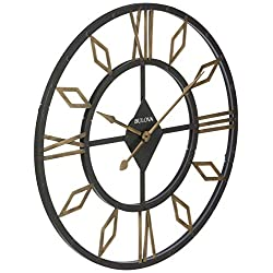Bulova C4858 Diamond Gallery Wall Clock, Aged Black Finish