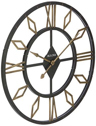 Bulova C4858 Diamond Gallery Wall Clock, Aged Black Finish