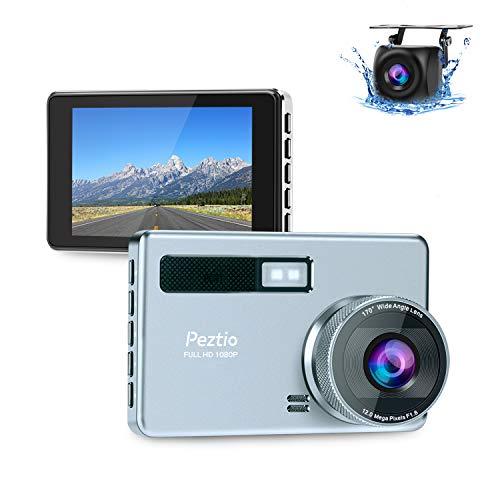 Dashcam Auto Vorne Hinten, Full HD 1080P Autokamera 3.2 Zoll IPS-Bildschirm mit 720P Rückfahrkamera, Nachtsicht 170°Weitwinkelobjektiv, G-Sensor, WDR, Loop-Aufnahme, Bewegungserkennung, Parkmonitor