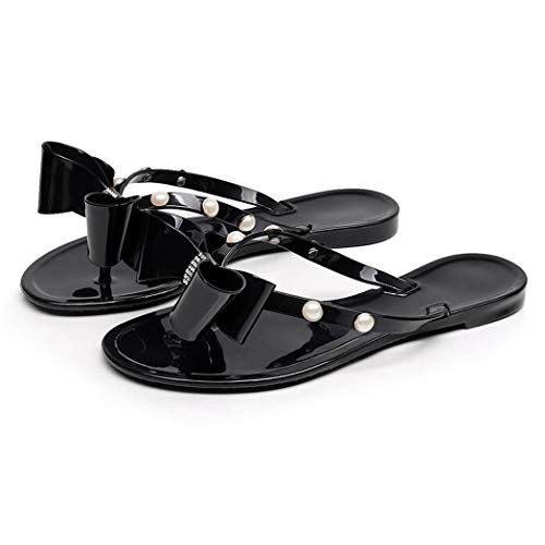 AlwaysU Womens Flip-Flops Jelly Thong Sandals Summer Flat Beach Shoes with Cute Bow Ties Black Color Size 7.5
