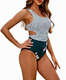 MOLYBELL Women's Lilies Striped Print One Piece Tank Top Swimsuit Cut Out Zip Up Monokini Swimwear (White, Small)