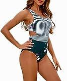 MOLYBELL Women's Lilies Striped Print One Piece Tank Top Swimsuit Cut Out Zip Up Monokini Swimwear (White, Medium)