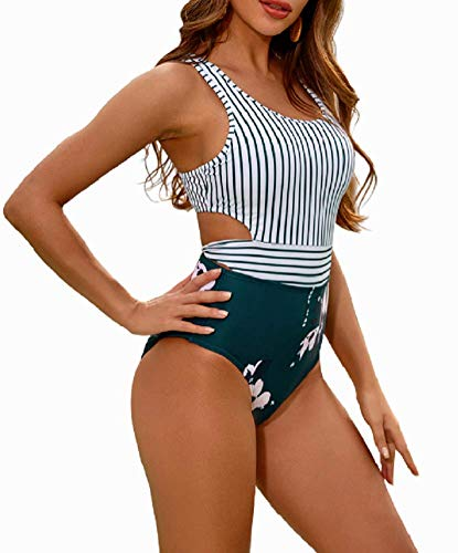 MOLYBELL Women's Lilies Striped Print One Piece Tank Top Swimsuit Cut Out Zip Up Monokini Swimwear (White, X-Large)