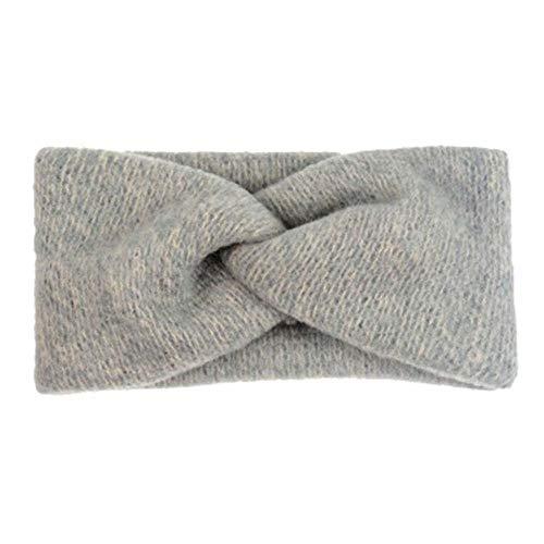 Tineo Herfst winter wollen haarband voor dames Twisted Knotted Soft Knitted hoofdband Vintage haaraccessoires Hoofdomslag, grijs
