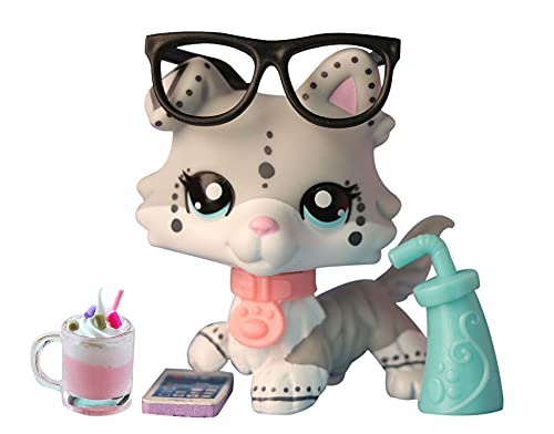 Judylovelps Custom lps Collie Pet lps Speckle Collie, White and Gray Spots Blue Eyes Collie with lps Accessoires Drink Cellphone Collars Collectable Figure Kids Gift