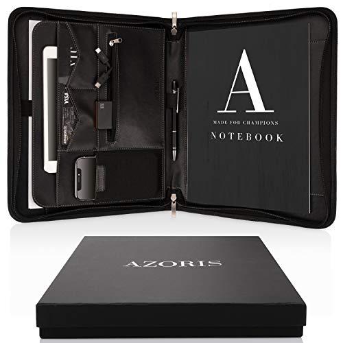 Porte Documents A4 Premium avec double fermeture Éclair et compartiment de 11 pouces pour tablette, Dossier de Conférence IPad professionnelle en cuir PU pour hommes et femmes