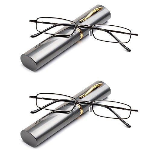 Newbee Fashion -'Pocket' Readers Ultra Compact Spring Temple Reading Glasses w/Portable Pocket Clip Aluminum Case Gunmetal +2.25