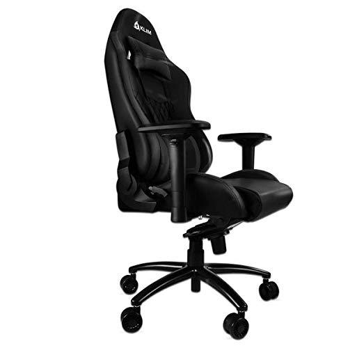 KLIM Esports Gaming Stuhl + Mit Lenden- und Nackenstütze + Verstellbar Gaming Sessel + Ergonomisch PC Stuhl + Kunstleder und Premium-Materialien + Schwarz Gamer Stuhl 2021 Version Gaming Chair